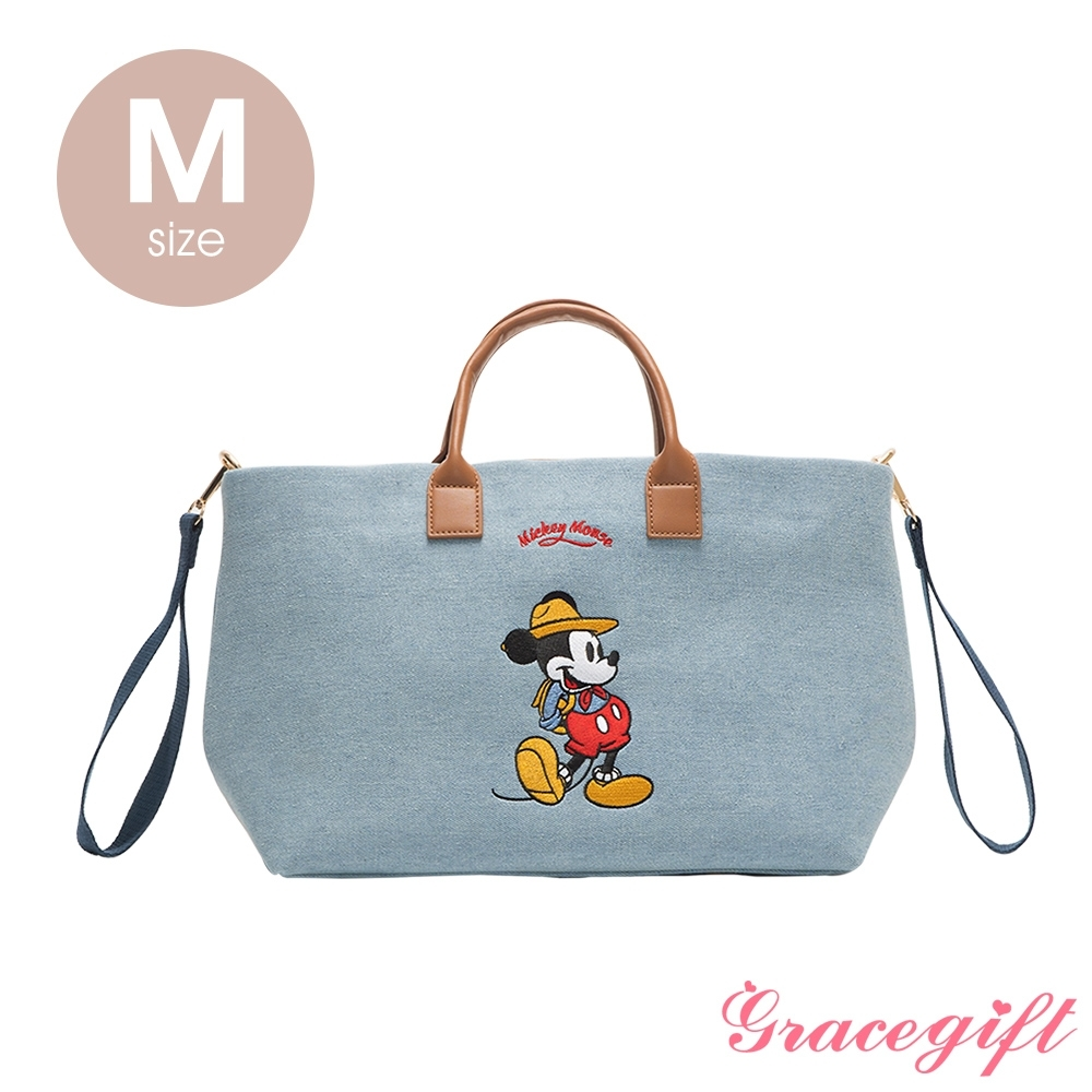 Disney collection by grace gift–唐葳設計迪士尼米奇露營2WAY帆布包M 單寧
