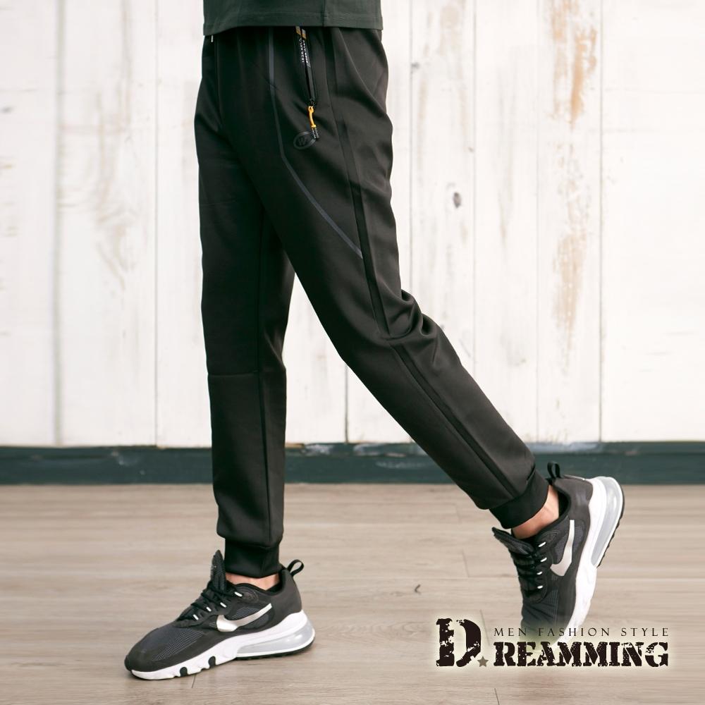 Dreamming 美式幾何線條彈力休閒縮口褲 鬆緊 慢跑褲-黑色