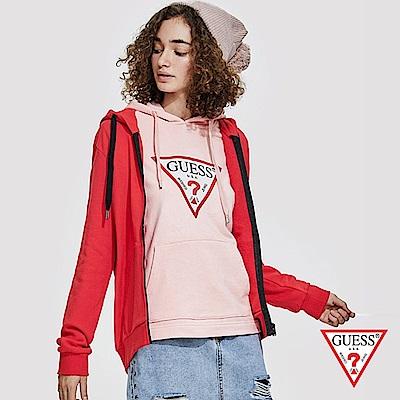 【現省↘2500】GUESS-女裝-時尚運動連帽外套-紅 原價3990