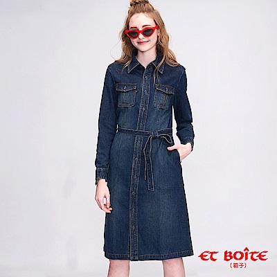 ETBOITE 箱子 BLUE WAY 牛仔襯衫式連身洋裝