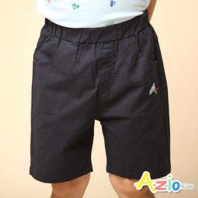 Azio Kids 男童 短褲 小汽車刺繡純色彈性休閒短褲(深藍)