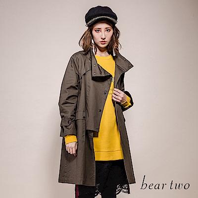 beartwo 大口袋立領長風衣(2色)