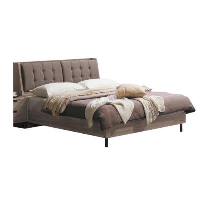 文創集 波森 現代5尺亞麻布雙人床台組合(床頭箱+床底+不含床墊)-152x223.3x93cm免組