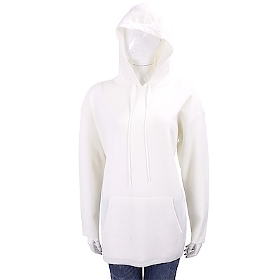 Max Mara 100%羊絨白色連帽針織運動衫