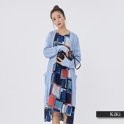【KiKi】素面羅紋長版針織-外套(藍色)