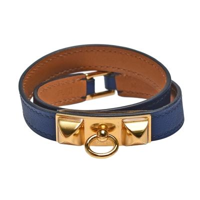HERMES 經典RIVALE DOUBLE系列金屬鉚釘小牛皮細版雙圈手環(深藍/金)