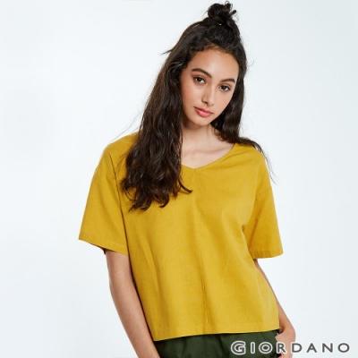 GIORDANO 女裝自然棉麻系列短袖寬版上衣-45 蜜黃