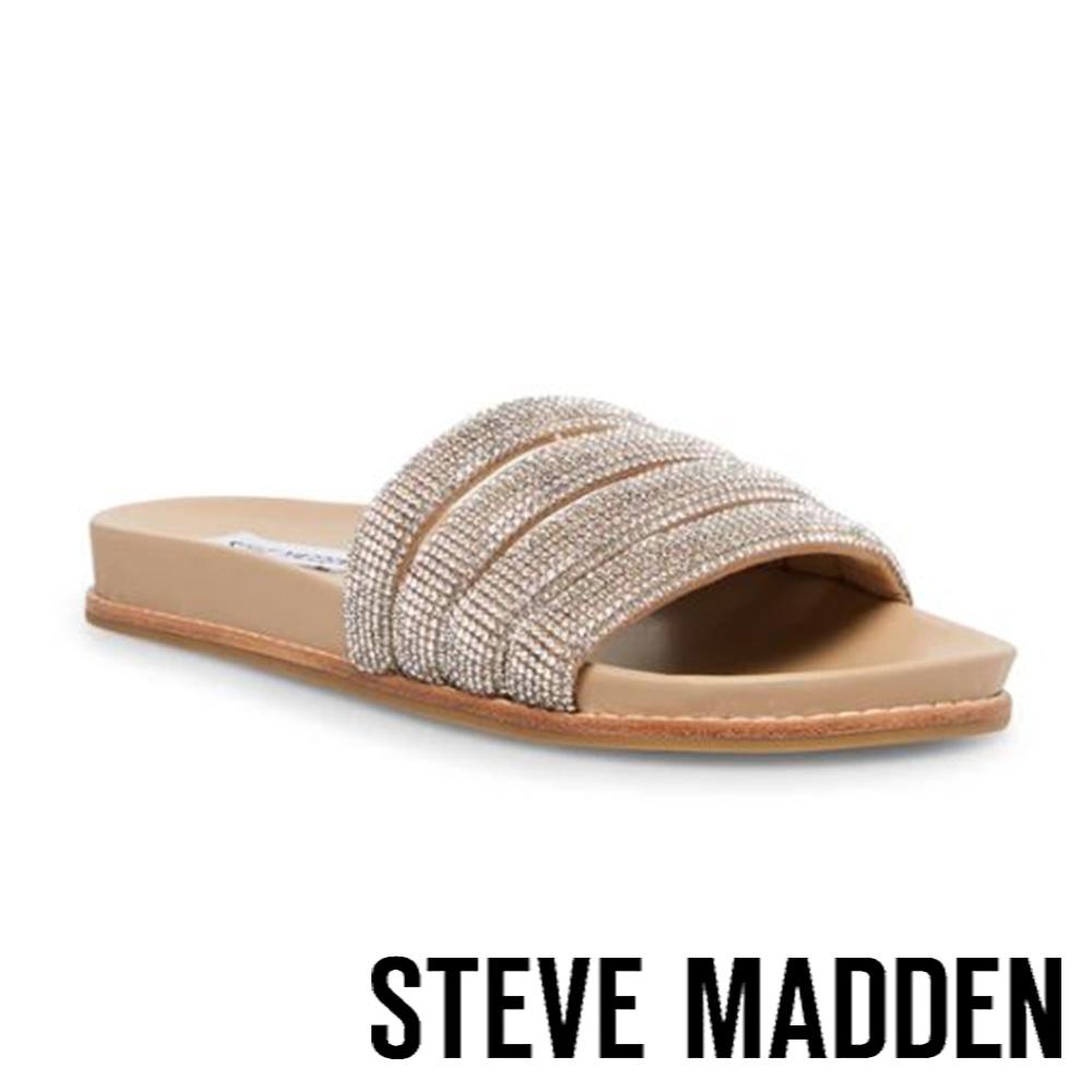 STEVE MADDEN-DRIPS-R 拼接閃鑽舒適涼拖鞋-銀色