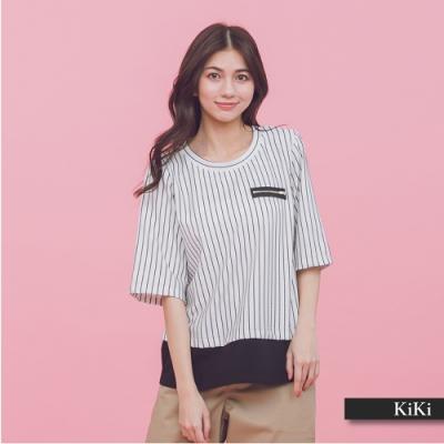 【KiKi】上班族假兩件條紋-上衣(二色)
