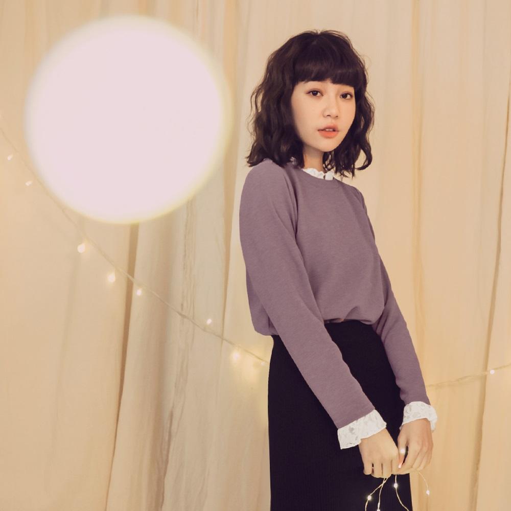 純色拼接蕾絲假兩件式長袖上衣-OB嚴選 @ Y!購物