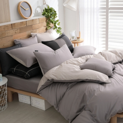 OLIVIA BASIC系列 標準雙人床包美式枕套三件組 300織精梳長絨棉 台灣製