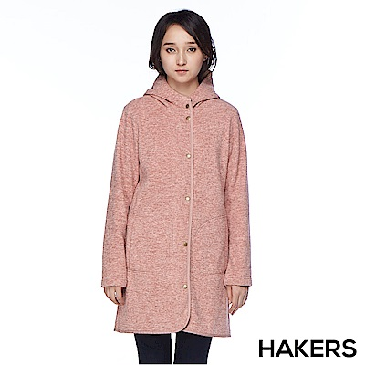 【HAKERS 哈克士】女款 保暖長版刷毛外套(豆粉)