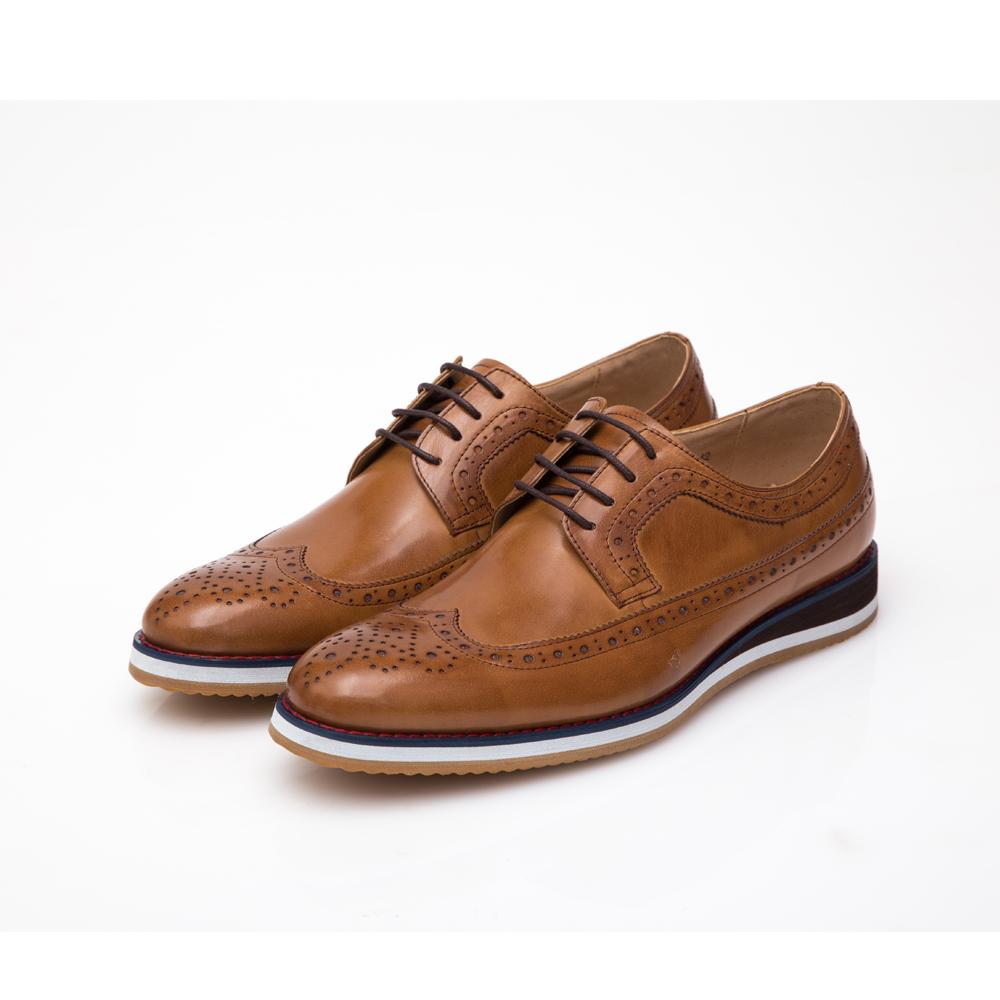 ALLEGREZZA-真皮男鞋-休閒舒適-真皮雕花德比鞋 焦糖色