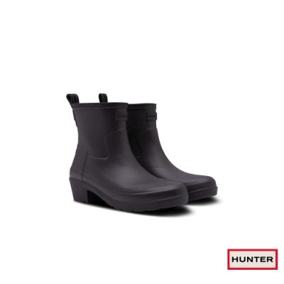 HUNTER - 女鞋 - Refined波紋低跟踝靴 - 黑