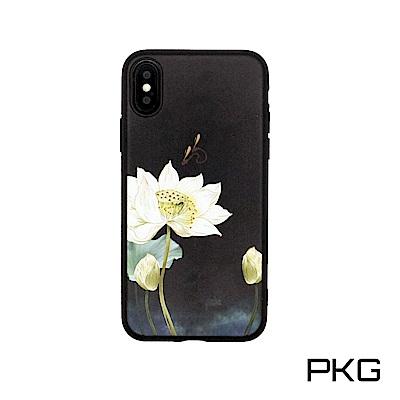 PKG Apple IPhone X 彩繪保護殼-創意彩繪-黑底蓮花