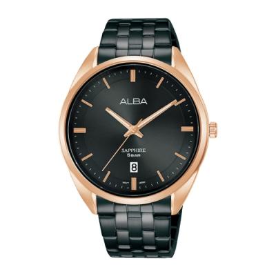 ALBA 雅柏 Prestige不鏽鋼藍寶石水晶錶41黑金色(AS9L04X1)