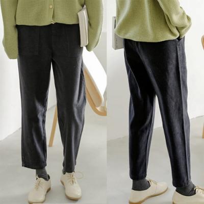 牛仔褲-純棉長絨棉黑藍色直筒寬鬆休閒長褲-設計所在