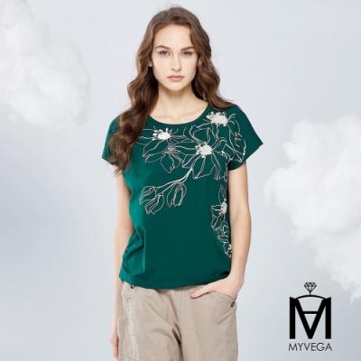 MYVEGA麥雪爾 MA高含棉手縫珠立體印花上衣-綠