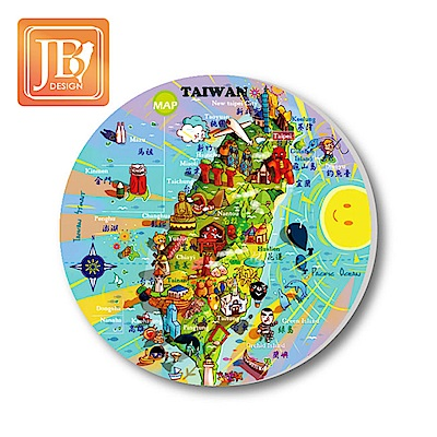 JB Design 陶瓷吸水杯墊 -歡樂台灣島