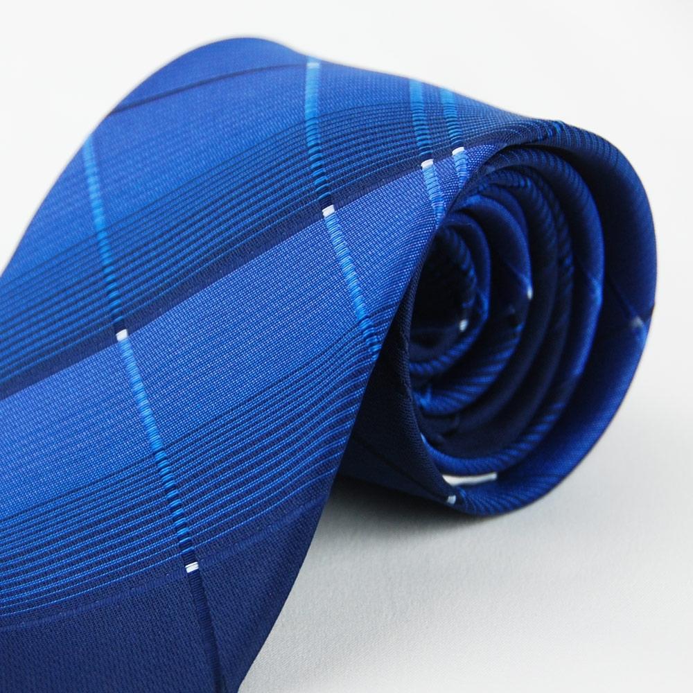 Alpaca 深藍交叉大格領帶