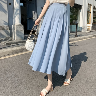 La Belleza素色後鬆緊腰百摺雪紡裙大擺裙