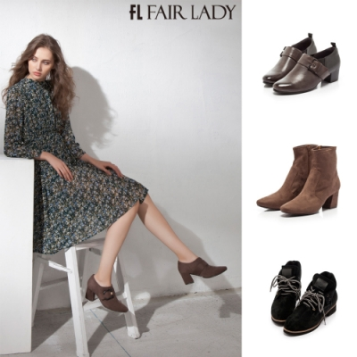 「品牌週限定」Fair Lady造型釦飾拼接踝靴/短靴 共4款