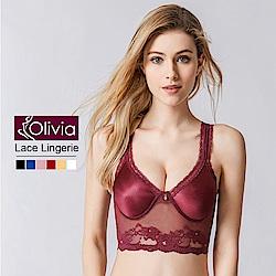 Olivia 無鋼圈性感無痕蕾絲美背薄款內衣-酒紅