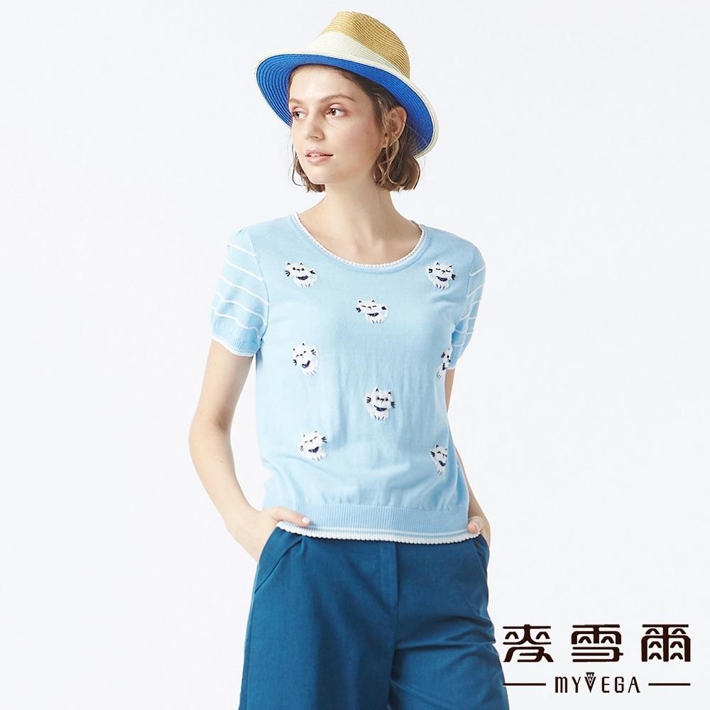 MYVEGA麥雪爾 貓咪線條短袖針織衫-水藍