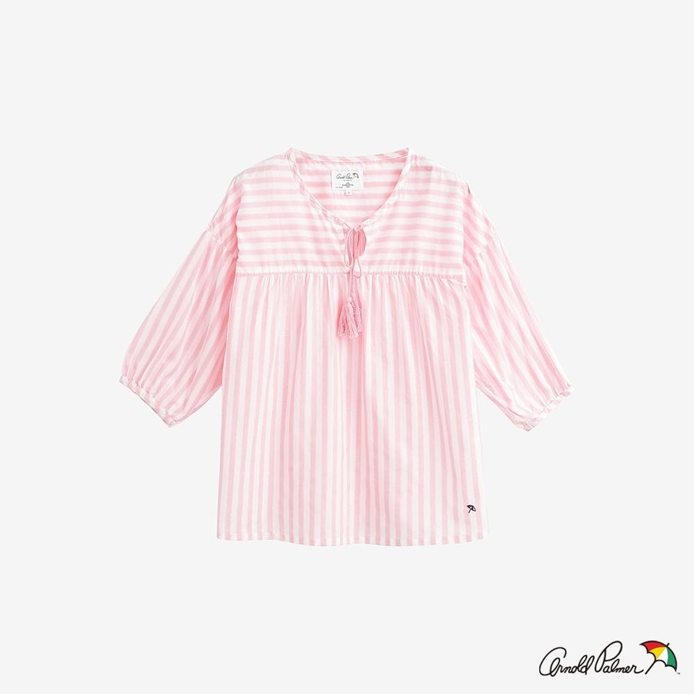 Arnold Palmer-女裝-直條紋綁繩襯衫-粉