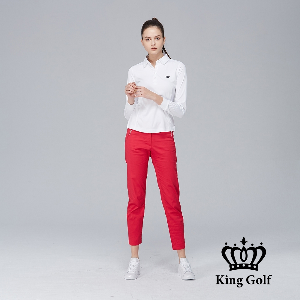 【KING GOLF】素面薄款立體刺繡長袖POLO衫-白色