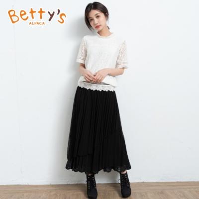 betty's貝蒂思 層次感繡花紗裙(黑色)