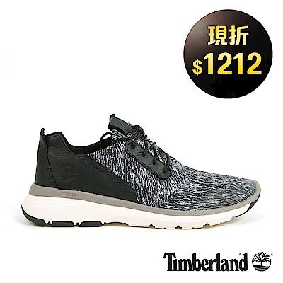 Timberland 男款黑色皮革印花淺口鞋