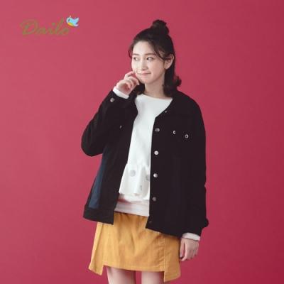 【Dailo】貓頭鷹口袋短夾克-外套(二色)