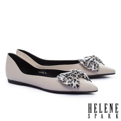 平底鞋 HELENE SPARK 時尚豹紋蝴蝶結全真皮尖頭平底鞋-米