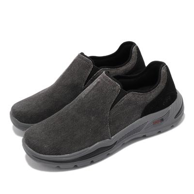 Skechers 休閒鞋 Arch Fit Motley 襪套式 男鞋 專利鞋墊 避震 緩衝 耐磨 止滑 外出 黑 灰 204183BLK