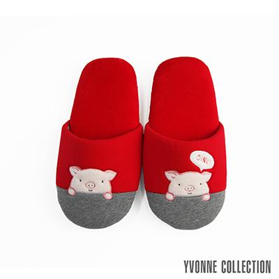 Yvonne Collection 哈囉豬胖胖拖鞋-紅L