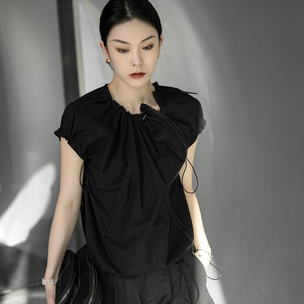 設計所在Style-韓版修身素色心機顯瘦圓領短袖T恤 (黑色)