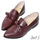 Ann'S超柔軟綿羊皮-可拆立體蝴蝶結兩穿穆勒尖頭紳士鞋-酒紅 product thumbnail 1
