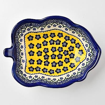 【波蘭陶 Vena】 黃釉青花系列 葉子造型深盤 波蘭手工製