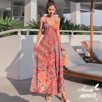 Mandy國際時尚 無袖洋裝 性感吊帶波西米亞民族風掛脖連衣長裙