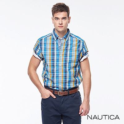 Nautica復古格紋短袖襯衫-橘藍格