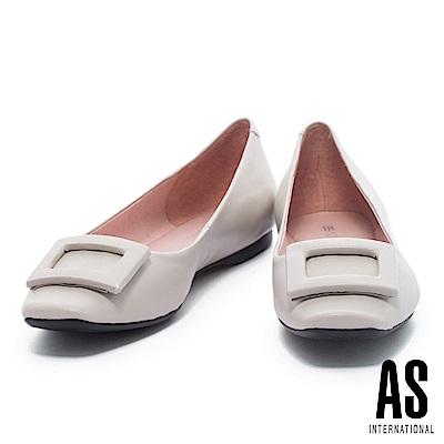 平底鞋 AS 都會知性方釦造型全真皮方頭平底鞋-米