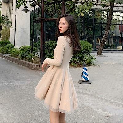 DABI 韓國風名媛氣質收腰優雅閃閃網紗拼接長袖洋裝