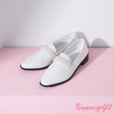 Grace gift-方頭珍珠2way樂福鞋 白
