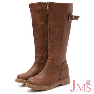 JMS-修身美型後環扣內增高拉鍊長靴-棕色