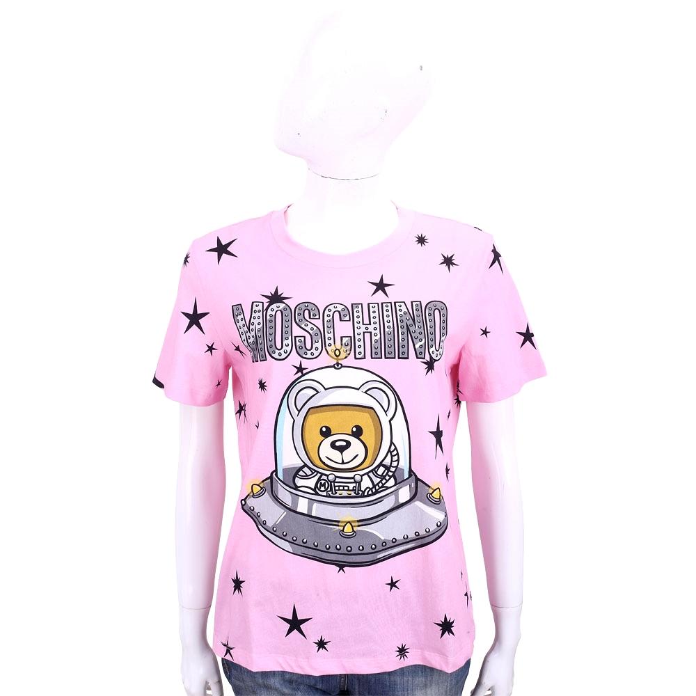 MOSCHINO 太空熊星星圖案粉色棉質短袖T恤