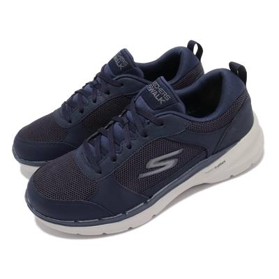 Skechers 休閒鞋 Go Walk 6 Compete 男鞋 機能 健走鞋 輕量 穩定 支撐 避震 藍 灰 216203NVY