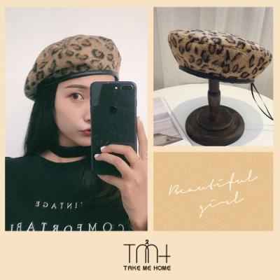 TMH-韓國空運  豹紋毛呢貝蕾帽