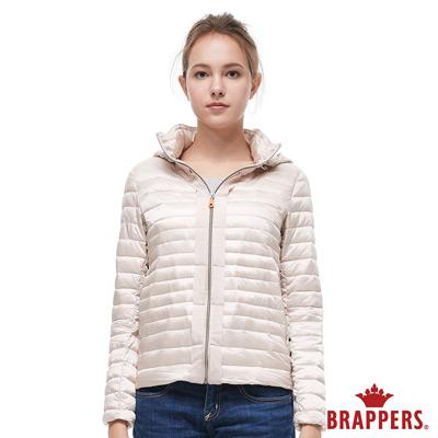 BRAPPERS 女款 短版仿絨棉可拆帽外套-淺粉