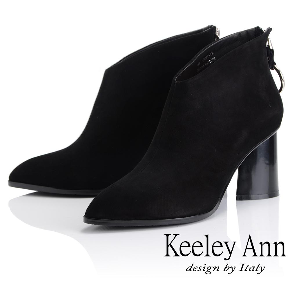 Keeley Ann 俐落時尚~斜口腳背金屬拉環粗跟全真皮短靴(黑反毛色-Ann)
